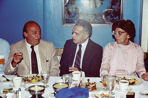 Will Eisner, Jack Kirby & Roz Kirby at the 1982 Inkpot Awards. Photo by Alan Light.