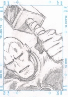 Tuska original sketch card of Iron Man with Thor's hammer (?)