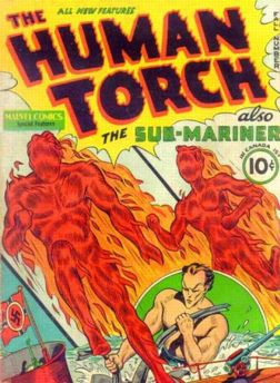 Human Torch #2 followed Red Raven #1