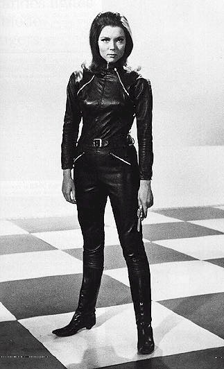 Mrs. Peel in the suit that inspired the Black Widow's outfit